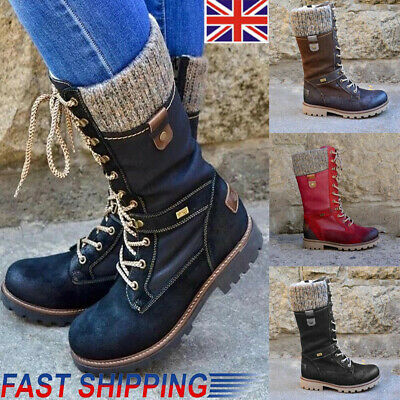 UK Women's Ladies Mid Calf Lace Up Boots Army Combat Military Biker Flat Shoes