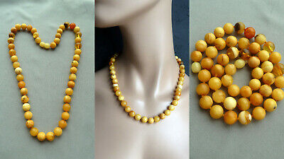 TF33 老琥珀 natural real amber necklace Butterscotch Bernstein Kette Collier baltic