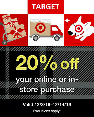 TARGET 20% Off COUPON Promo Card Good Til 12/14/19 Gift Online/in-store Purchase