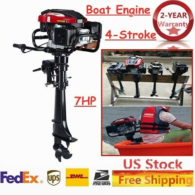 HANGKAI 4Stroke 7HP 196CC Outboard Motor Boat Engine w/ Air Cooling System 5.1KW