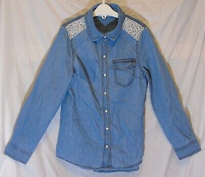 Girls M&S Light Blue Denim White Lace Trimmed Long Sleeve Shirt Age 8-9 Years