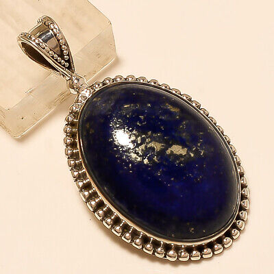 Natural Afghan Lapis Lazuli Pendant 925 Sterling Silver Handmade Jewelry Gifts