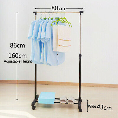 Movement Mobile Clothes Rack Coat Garment Adjustable Hanging Rail Storage Stand