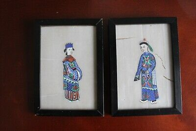 Antique Chinese pith rice paper painting, 19 th century.