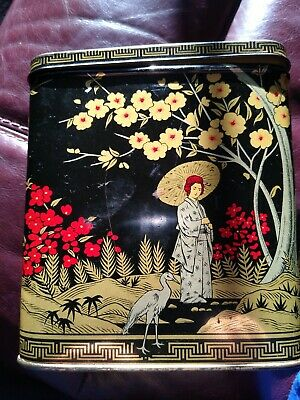 1950s/1960's Twinings black/yellow/red metal tin Japanese design tea caddy, used