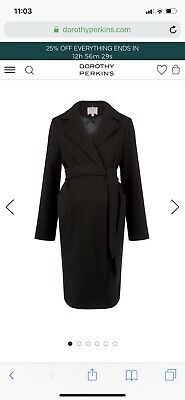 Dorothy Perkins Black Wrap Maternity Coat Size 10- Only Worn Once