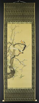 """JAPANESE HANGING SCROLL ART Painting """"Bird and Flower"""" Asian antique  #E9860"""