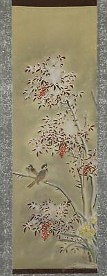 """JAPANESE HANGING SCROLL ART Painting """"Bird and Flower"""" Asian antique  #E9870"""