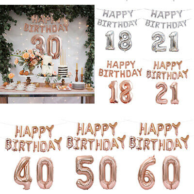 Rose Gold Happy Birthday Number Foil Balloons Bunting Banner 18/21/30/40th Decor