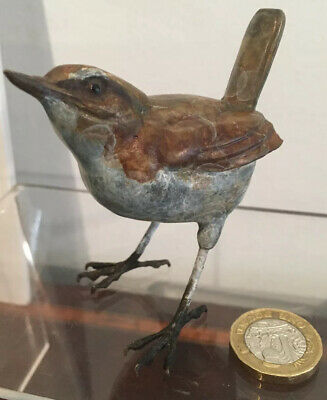 A Beautiful Cold Painted Life Size  Bronze Wren Bird On Legs Lovely Patina
