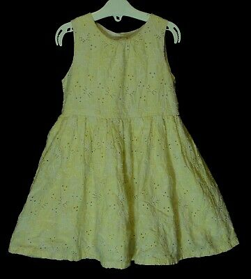 Girls Matalan Yellow Textured Floral Broderie Anglaise Lined Dress Age 2-3 Years