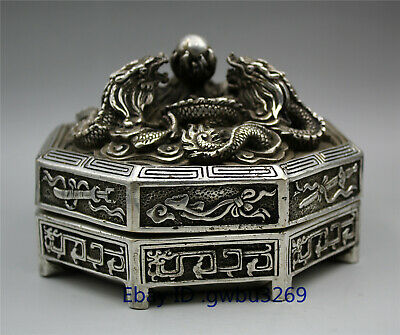 Collection Rare Tibetan Silver Hand Carved Dragon  Box w Qianlong Mark
