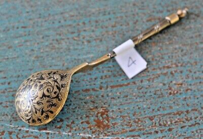 Original 1846 Imperial Russian Niello and Silver Gilt Teaspoon Spoon #4
