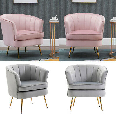 Scallop Back Velvet Armchair Occasional Accent Chair Studded Design Soft Seat UK