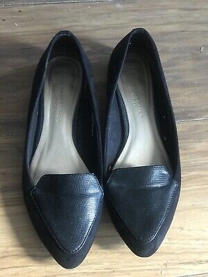 M&S Genuine Suede Flat Shoes ~ Navy Blue Wide Fit,UK Ladies Size 7 ~ Hardly Worn