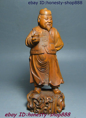 """8"""" Chinese Boxwood Wood Carved Mammon Money Wealth God Landlord Yuan Bao Statue"""