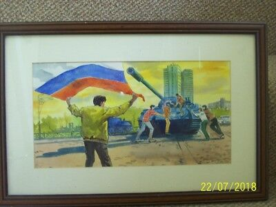 Moscow 1991 August coup.Original watercolour painting.Soviet political history.
