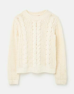 Joules Girls Amberly Dry Handle Chenille Jumper  - CREAM