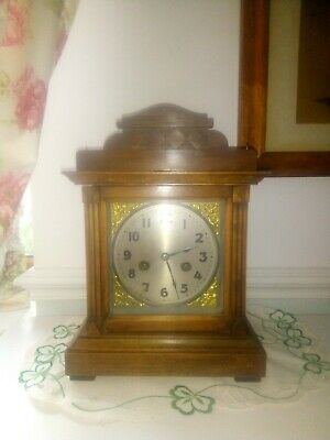 Nice Victorian Chiming Oak Mantle Bracket Clock 8 Day Working