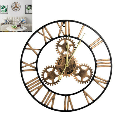 40CM Indoor Outdoor Garden Large Wall Clock Vintage Roman Numeral Gear Rustic
