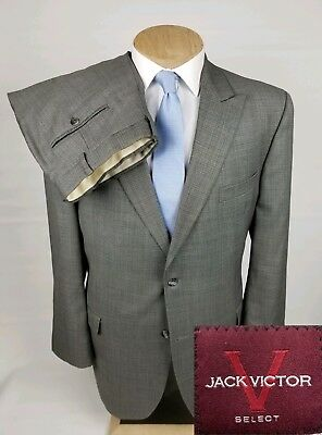 Jack Victor Select Mens Suit 46L Gray Check 2 Button 2 Piece Wool 37x32.5