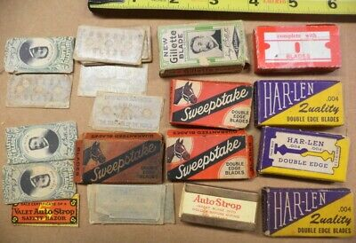 Lot Antique Vintage Shaving Razor Blades Har-Len Gillette Sweepstake Auto-Strop+