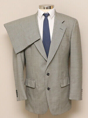 Mens 41L Jos. A. Bank 2 Piece Black/White Houndstooth 100% Wool Suit