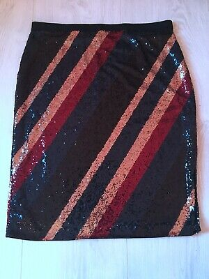 Next Ladies Black Gold Navy Blue Red Sequin Sparkly Party Skirt Plus Size 22