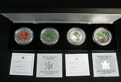 2001 to 2003 Canada Coloured & Hologram Silver Maple Leaf Set of 4 Coin in Case
