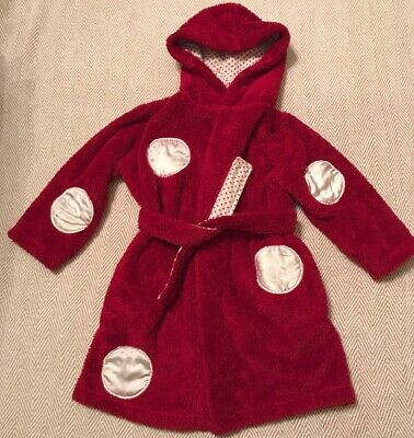 Girls Fluffy Red Dressing Gown From M&S, Age 2-3 Years