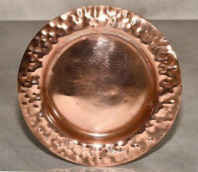 "Antique Arts & Crafts 5"" Hammered Copper Pin Dish/Coaster"