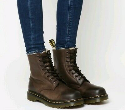 NEW! Dr Martens 1460 Serena Fur Lined Burnished Wyoming Leather Boots Size UK 4