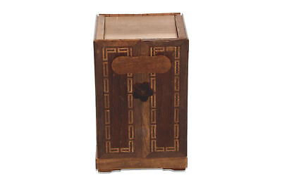 A vintage Japanese / Chinese marquetry moneybox Sculptural Architectural Old