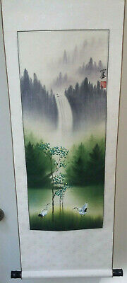 Vintage Wood Japanese Scroll With Makers Mark Cranes and Waterfall Painting