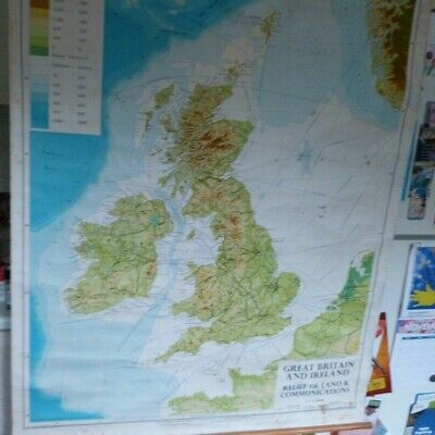 Vintage large school wall map of Great Britain & Ireland 1970 G.Philip & Son