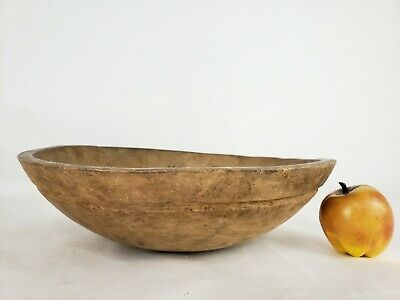 """Antique Primitive Wood Dough Bowl 19th Treenware VTG Round Hand Turned 14"""""""