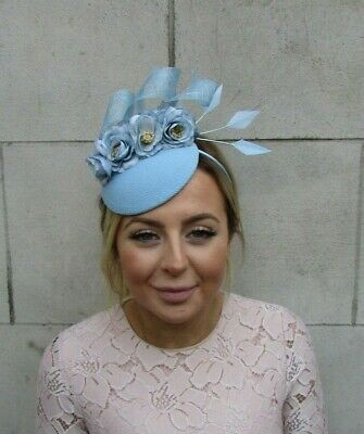 Pale Light Blue Rose Flower Feather Hat Fascinator Races Wedding Hair Piece 7946