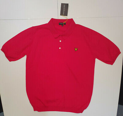 mens lyle and scott short sleeve knitted polo shirt jumper red xl new with tags