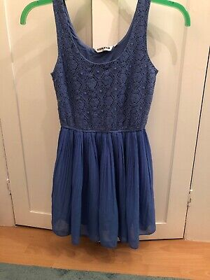 new look 915 generation Dress Age 12 Blue Crochered Top Pleated Skirt
