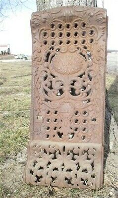 Charter Oak Wood Stove Cast Iron Ornate Floor Grate Fireplace Screen Vintage a
