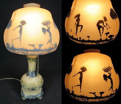 small ANTIQUE table lamp boudoir PAINTED GLASS SHADE cast iron DANCERS