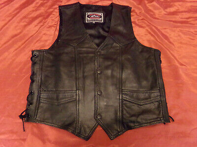 River Road Black Leather Motorcycle Biker Vest Mens Rambler Sz 42 Medium