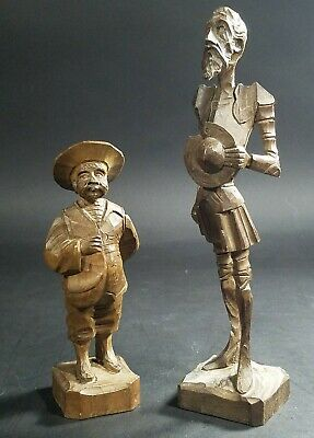 Vintage Spanish Spain Don Quixote & Sancho Panza hand carved Wooden Figures