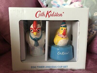 Brand New Cath Kidston Chicken Egg Timer and Egg Cup Set, BNIB