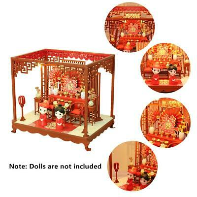 DIY LED Apartments Dollhouse Miniature Wooden Furniture Model Kit Doll House