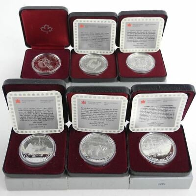 Lot of 6 Proof Canada Silver Dollars - 1983,1985, 1987, 1988, 1989, 1991