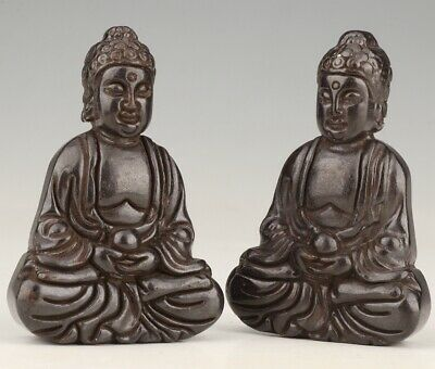 2 Buddhist Chinese Black Jade Pendant Statue Guanyin Spiritual Old Collection