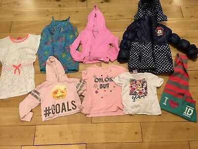 Girls 7-8 Years Bundle Disney Minnie Mouse Winter Coat Dress Pink Hoodie Tshirt