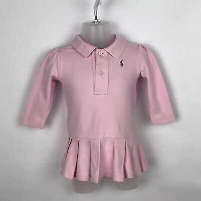 Ralph Lauren Designer Baby Girls Pink Tennis Shirt Dress Green Logo 9 Months