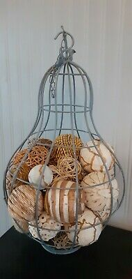 Pear Shaped Cage Metal Shabby Chic Decor